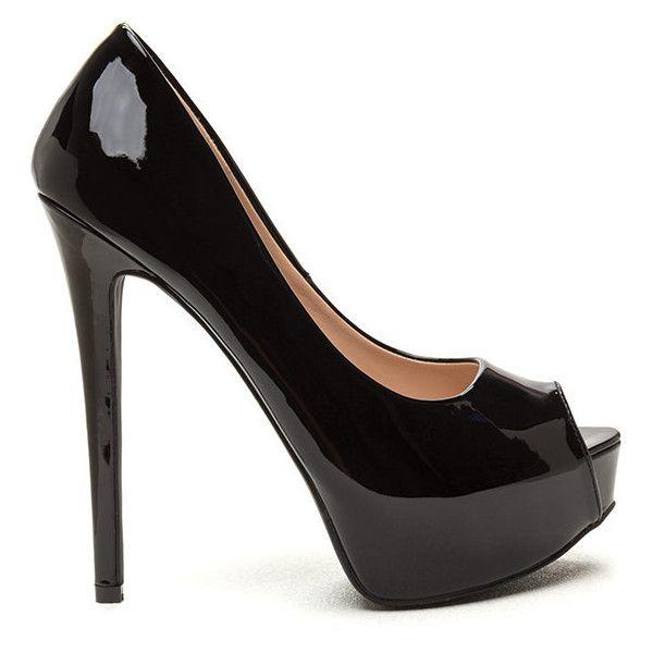 BLACK High Voltage Peep-Toe Platform Pumps ($35) ❤ liked on Polyvore featuring shoes, pumps, black, hidden platform pumps, black patent leather shoes, peep toe platform pumps, peep-toe pumps and high heel stilettos