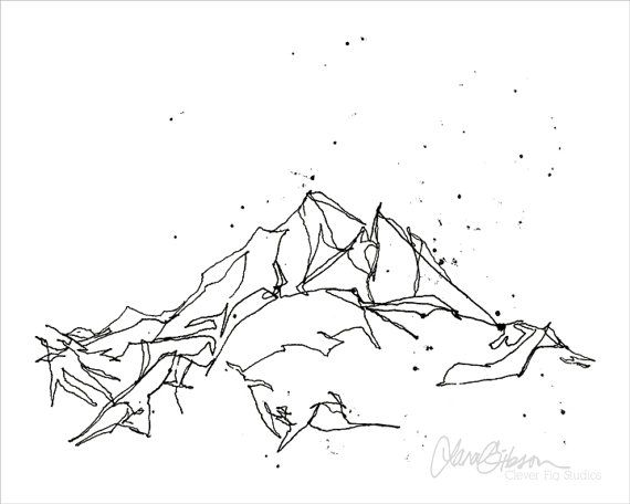 Mountain Sketch Drawing Print Minimalist Art by cleverfigstudios
