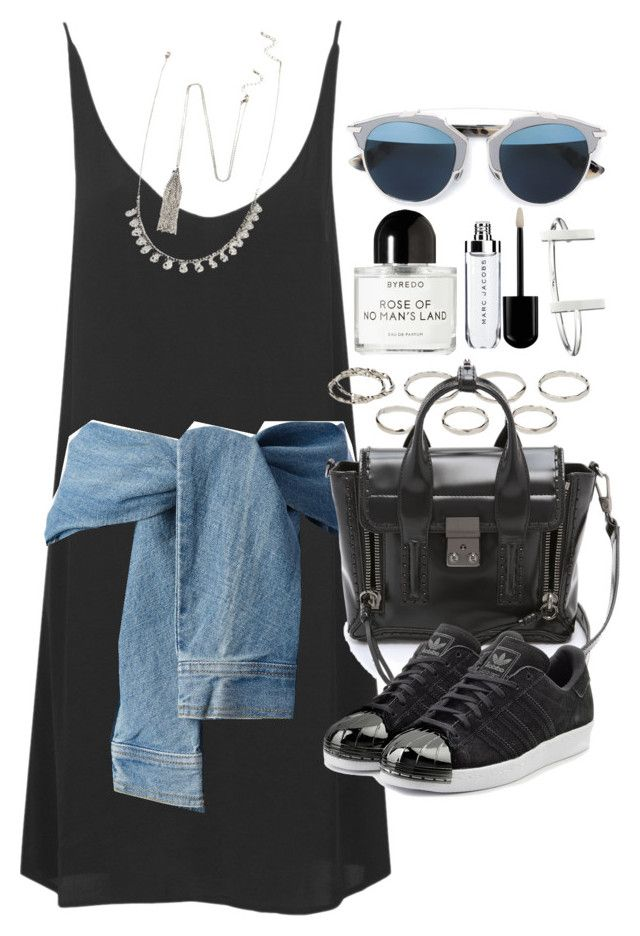 """""""Outfit with a slip dress and sneakers"""" by ferned on Polyvore featuring Topshop, DKNY, Akira, 3.1 Phillip Lim, adidas Originals, Forever 21, Byredo, French Connection and Christian Dior"""