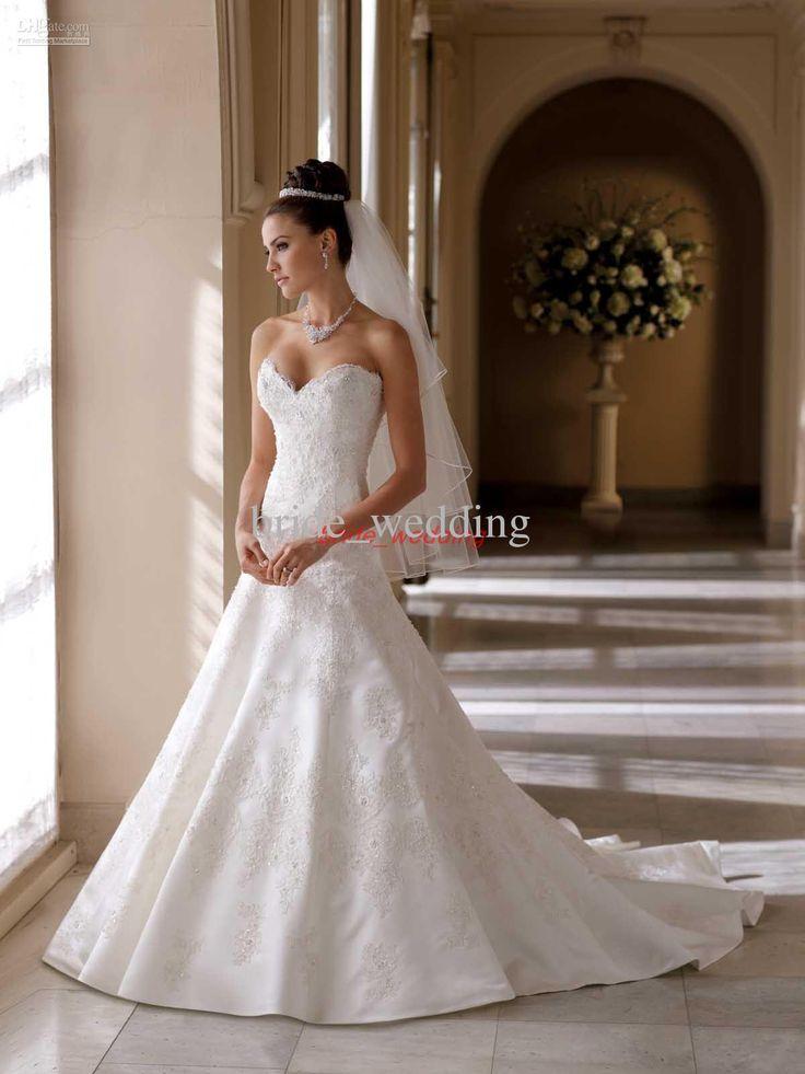 Wholesale Vintage David Tutera Wedding Dress A Line Lace Applique Beaded Helen Bridal Dress Pleat Satin 113215, Free shipping, $165.76-179.2/Piece   DHgate
