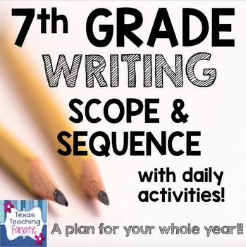 This scope and sequence was designed to save you HOURS of planning time...FOR YOUR ENTIRE YEAR!  It is 56 pages of Writing help!!Already have a scope from your district?  You can still use this document as a pacing guide!!I have included ALL Texas 7th grade Writing TEKS!!