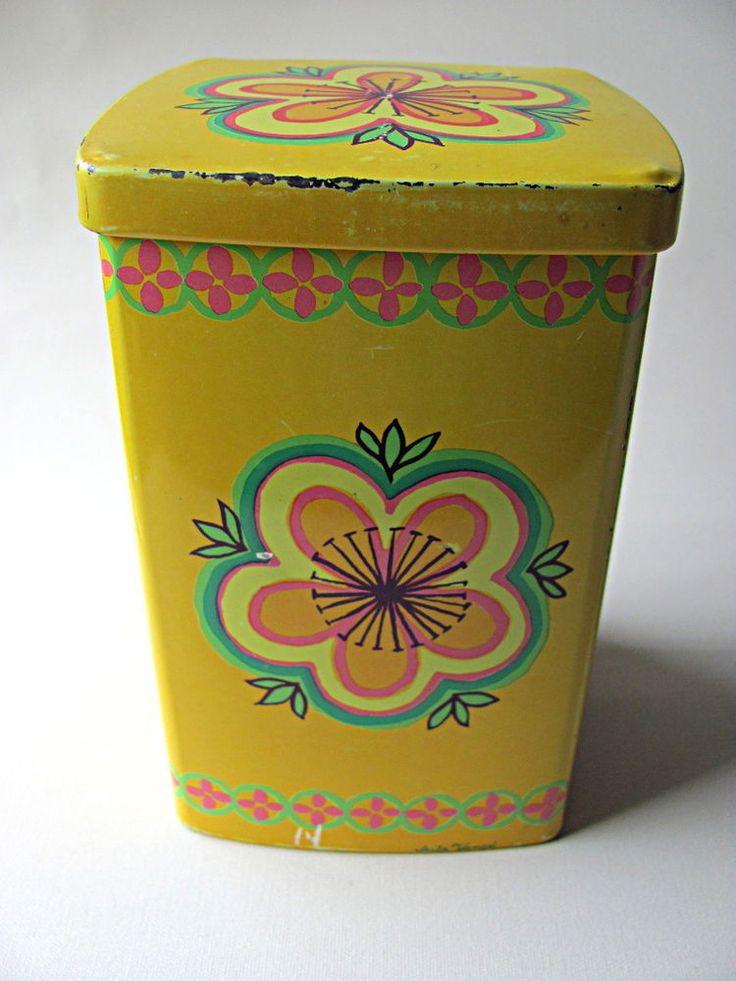 Ira Denmark Vintage Tin Yellow and Flower 70`s Retro Anita Wangel