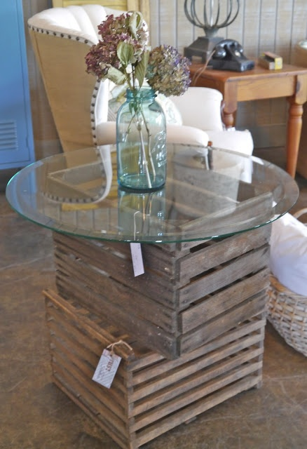 Stacked Crates with round glass top, great little display table...use for front window display