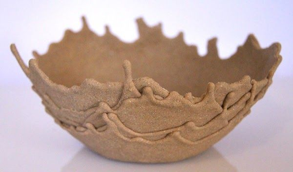 DIY: Sand Bowls- just sand mixed with glue and dripped over a bowl (or balloon?) until it hardens.