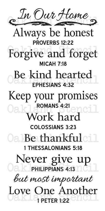 """Primitive STENCIL **In Our Home** Family Rules with Bible Verses Large 12""""x24"""" for Painting Signs, Airbrush, Crafts, and Primitive Decor"""