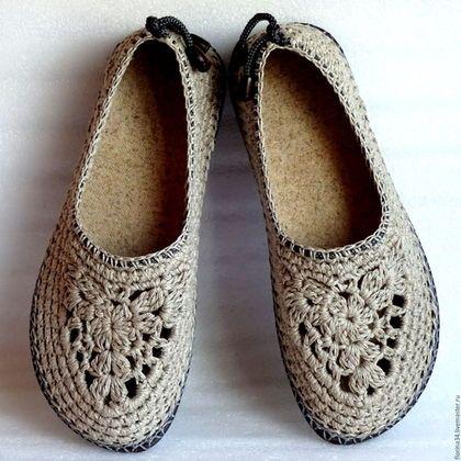 Обувь ручной работы. Ярмарка Мастеров - ручная работа. Купить Балетки вязаные Льняной шик, р.40, лен, серый. Handmade.