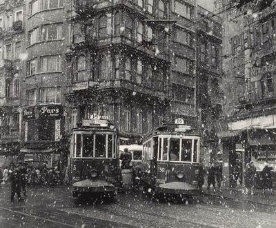 Photographer Ara Guler, trams at galatasaray square on a snowy day, beyoglu, istanbul, 1960