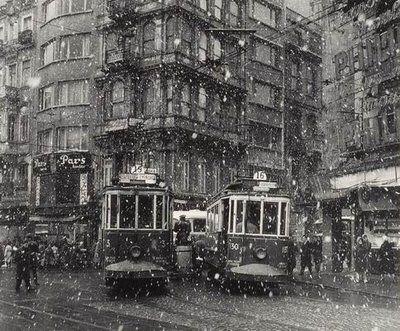 Photographer Ara Guler, trams at galatasaray square on a snowy day, beyoglu, istanbul, 1960
