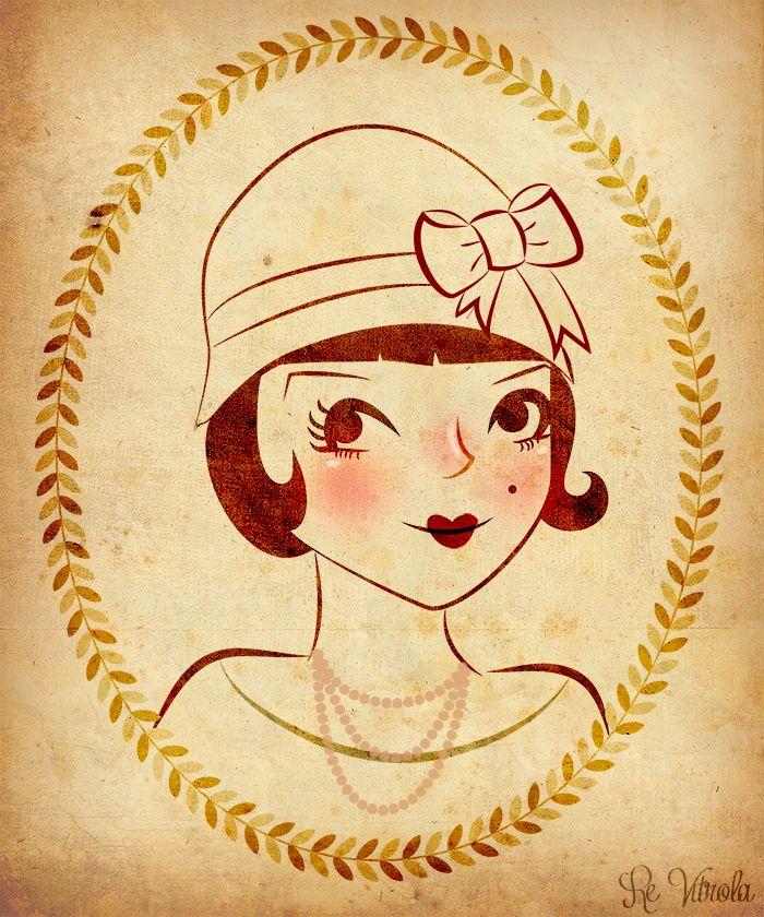 Mulher Vitrola #ilustraday vintage