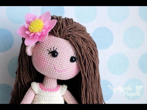 Крепление волос к готовой голове вязаной куклы без узелков и пришивания - YouTube