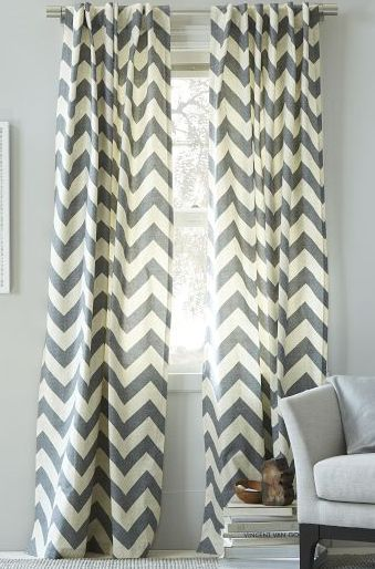 Chevron curtains. Perhaps in a different color, because I want gray walls, and not everything should be gray.