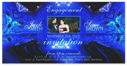 Blue Fantasy Engagement Invitation Photo Cards