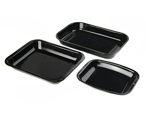 From 15.99 Russell Hobbs Cw20701ar 3-piece Vitreous Enamel Roaster And Chop Tray Set Carbon Steel Black