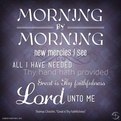 Lamentations 3:22-23 (KJV) ~ It is of the Lord's mercies that we are not consumed, because his compassions fail not.  They are new every morning: great is thy faithfulness.