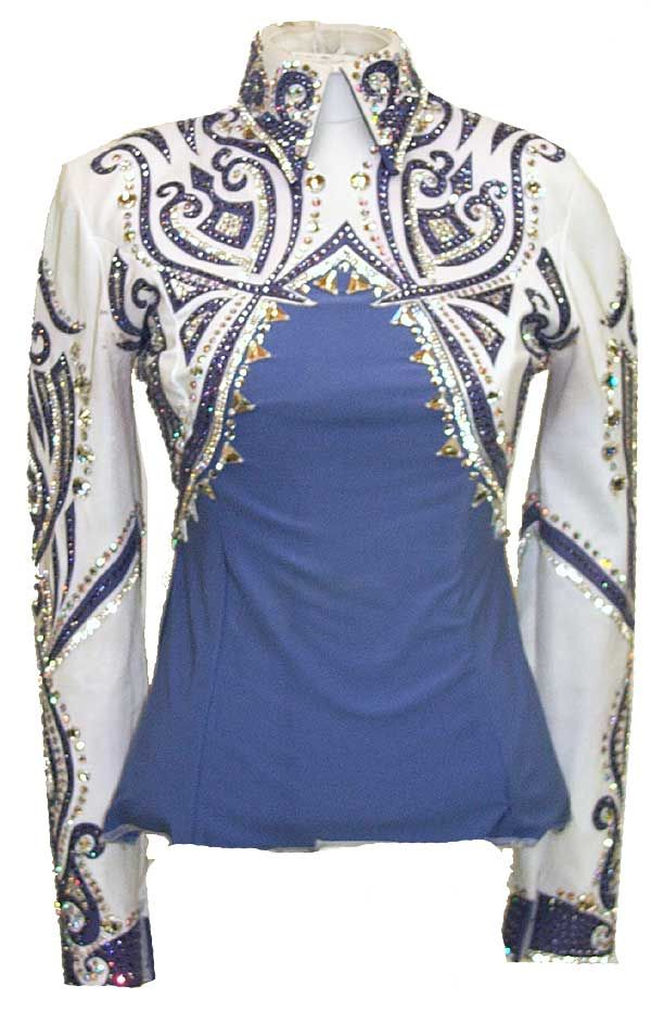 I like this design for either showmanship or horsemanship. it accentuates both the waist & shoulders keeping attention lifted to the face. Has the appearance of a bolero jacket