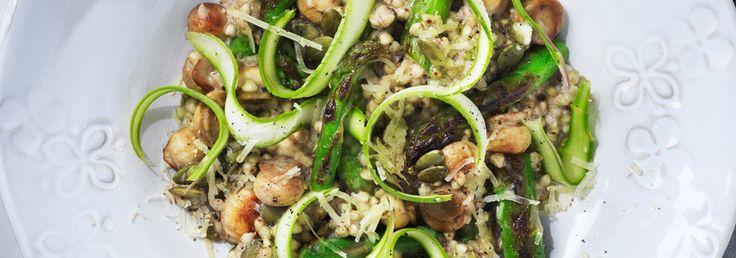 Hemkop.se   Snabb risotto på bovete med sparris & champinjoner