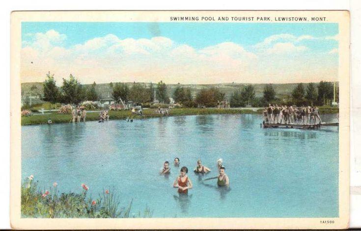 Undated Unused Postcard Swimming pool Tourist Park Lewistown Montana MT