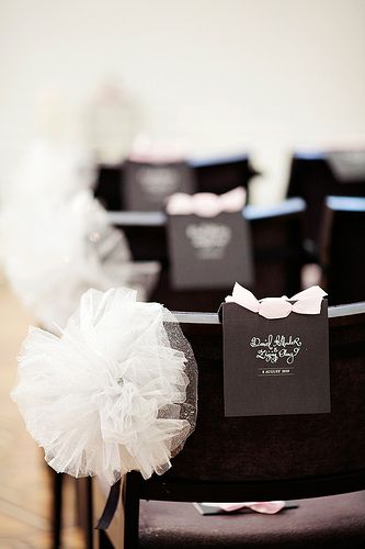 Instead of flowers have tulle pomanders or bows on the seats/pews down the aisle ... Wedding ideas for brides, grooms, parents & planners ... https://itunes.apple.com/us/app/the-gold-wedding-planner/id498112599?ls=1=8 … plus how to organise an entire wedding, without overspending ♥ The Gold Wedding Planner iPhone App ♥