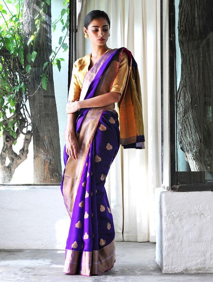 Royal Blue Begum Akhtar Silk Zari Handwoven Saree by Raw Mango
