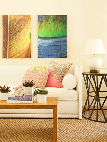 love the pops of color and graphic lines: Living Rooms, Couch, Add Colors, Area Rugs, Art, Beaches Inspiration, Splash Of Colors, Colors Schemes, Painting