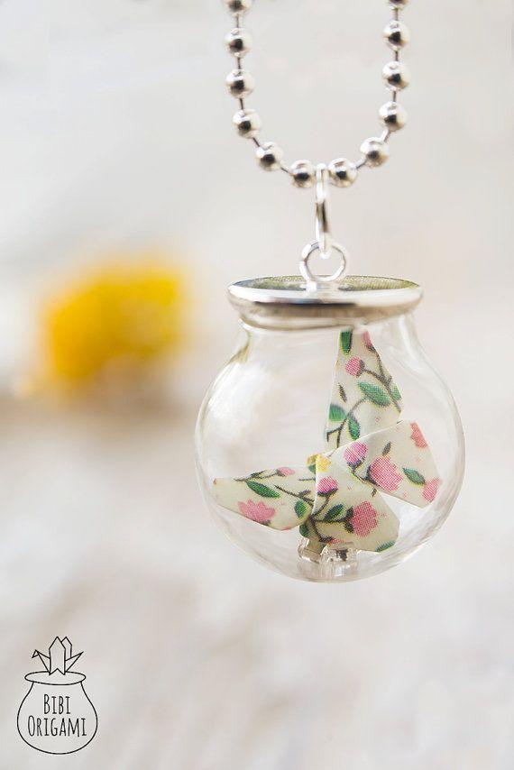 Origami Butterfly Globe Bottle Pendant Necklace Glass
