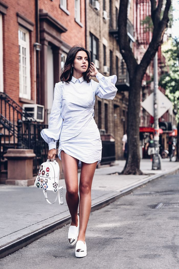 NYFW SS17 outfit - striped mini shirt dress + platform sneakers