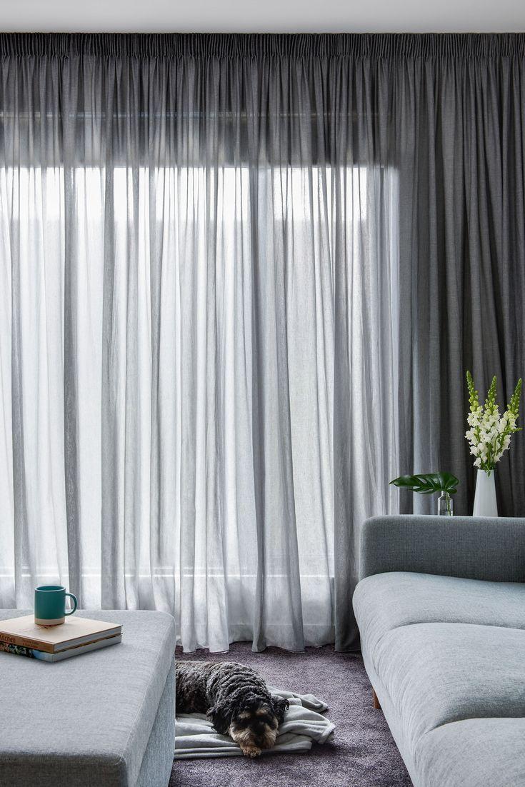 Pencil Pleat Curtain In Elain Asphalt Sheer Fabric 2019 Pencil Pleat Curtain In Elain A Sheers Curtains Living Room Stylish Curtains Contemporary Curtains