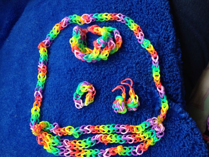 Rainbow triple necklace and bracelet with ring and earrings