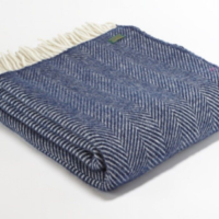Tweedmill Pure New Wool Throw - Navy