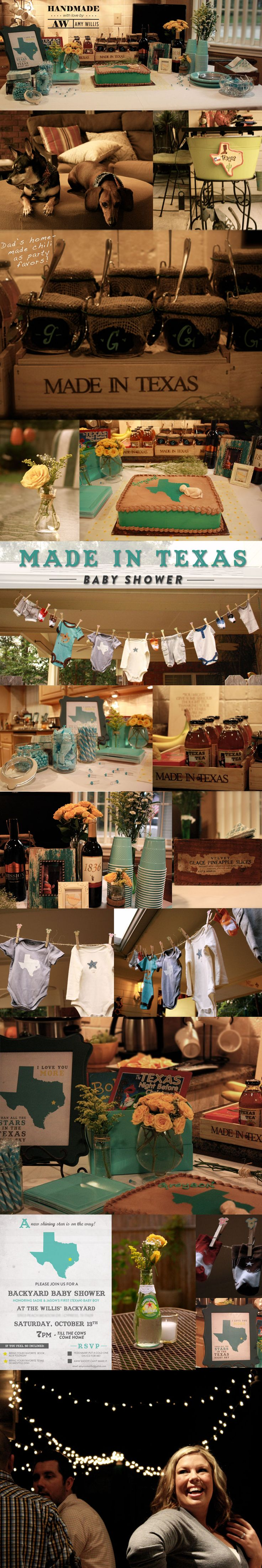 """Made in Texas Baby Shower. This past weekend my amazing family and I threw a """"Made in Texas"""" baby shower for my good friends Sadie & Jason's baby boy that is on the way.  It couldn't have been more perfect!"""