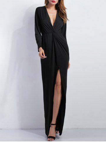 Knoted High Slit Plunge Dress - BLACK M