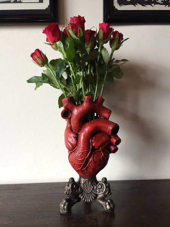 "Anatomical+Heart+Vase+ By:+Dellamorte+&+Co.  Sculpture+of+an+anatomical+human+heart,+cast+in+resin+and+hand+painted. -10.5""+tall -Bronze+&+Red+Finish   Due+to+the+handmade+nature+of+these+items,+they+are+made+to+order+and+may+take+slightly+longer+then+other+items,+please+allow+2-3+weeks+f..."