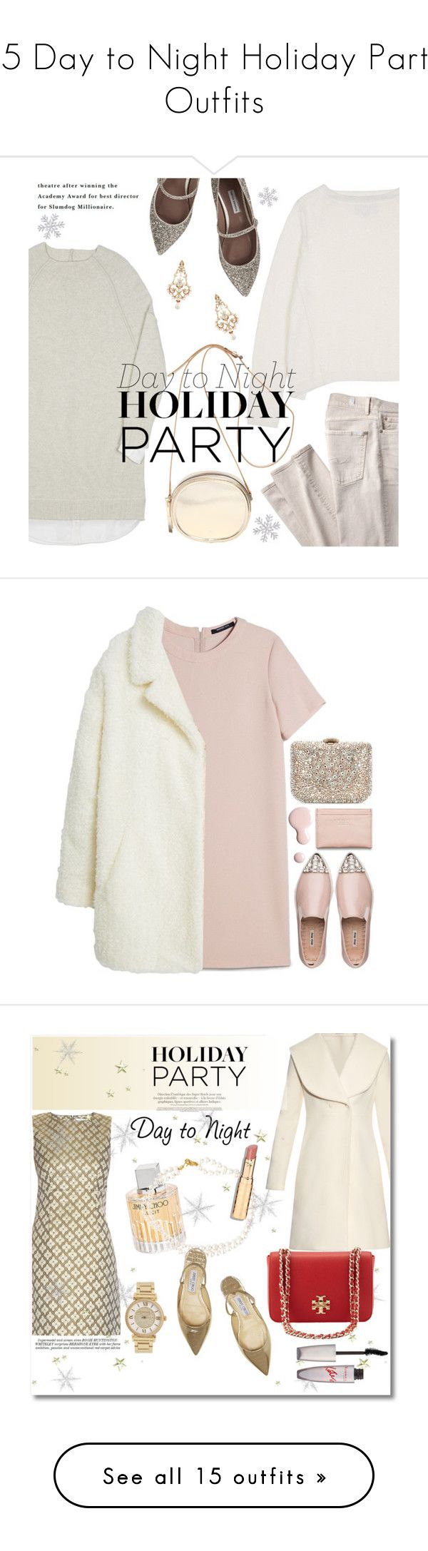 """15 Day to Night Holiday Party Outfits"" by polyvore-editorial ❤ liked on Polyvore featuring DayToNight, waystowear, 7 For All Mankind, Brochu Walker, N°21, Tabitha Simmons, Diego Percossi Papi, MANGO, Miu Miu and Rodo"