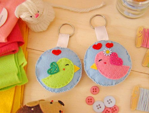Chaveiros Passarinhos de Feltro - (PAP com molde)2: Ideas For, Felts, Felt, Key Chain, Photo