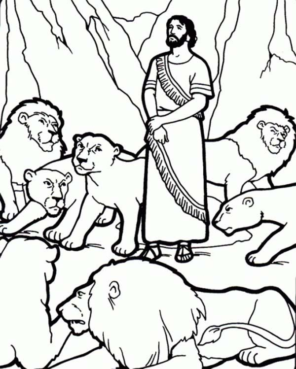 Daniel And The Lions Den Picture Coloring Page NetArt Biblical Art Pinterest