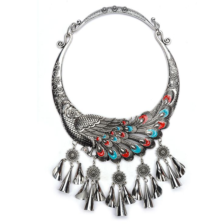 Find More Choker Necklaces Information about Peacock Choker With Charm Tassel Statement Necklace & Pendents Vintage Collier Femme Bijoux Maxi Collar Fashion Necklace,High Quality choker silver,China choker Suppliers, Cheap choker necklace vintage from Manerson Jewelry  on Aliexpress.com