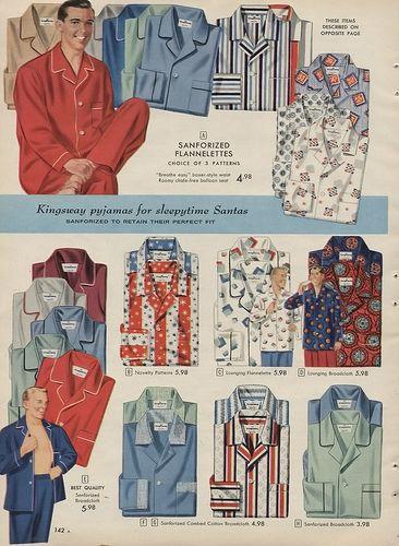 1957 Men's Pajamas from the Sears Christmas Catalog