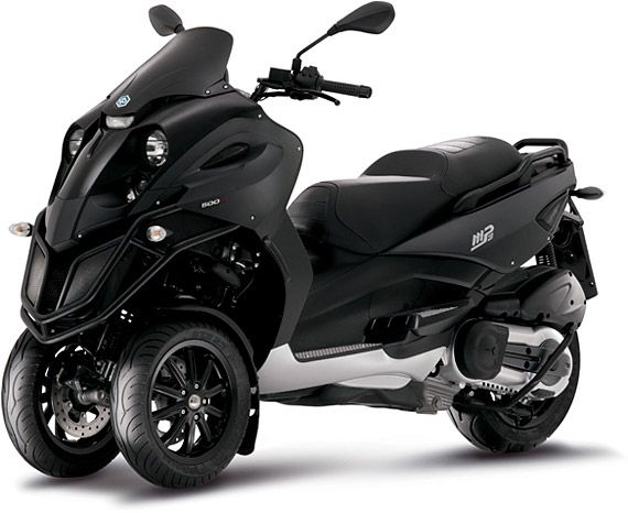 The Piaggio MP3 500 Scooter ($9,000) features a unique three-wheel design, providing a more stable, secure, and easier ride. Features include a 493cc engine, a maximum speed of 89mph, 55-57 mpg gas mileage, a lean angle of 40 degrees, 20% less braking distance than traditional two-wheeled scooters, and aggressive looks that will help you stand out from the Vespa crowd.
