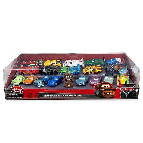 Disney / Pixar CARS 2 Movie Exclusive 20 Piece Die Cast Mega Set, 1:48 scale, Includes Carla Veloso, Lewis Hamilton, Tomber Rip Clutchgoneski by Disney Store. $174.99. Ages 3+, Imported. Box: H 5 1/2'' H x 22'' W x 11'' L. Cars: up to 4 1/4'' L. Set includes Professor Z, Grem, Acer, Mater, Finn McMissile, Holley Shiftwell, Lightning McQueen, Francesco Bernoulli, Shu Todoroki, Max Schnell, Miguel Camino, Jeff Gorvette, Rod ''Torque'' Redline, Nigel Gearsley, Miles Axlerod, Carla...