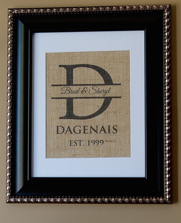 This is awesome! You can create your own personalized burlap wall art for only $14.