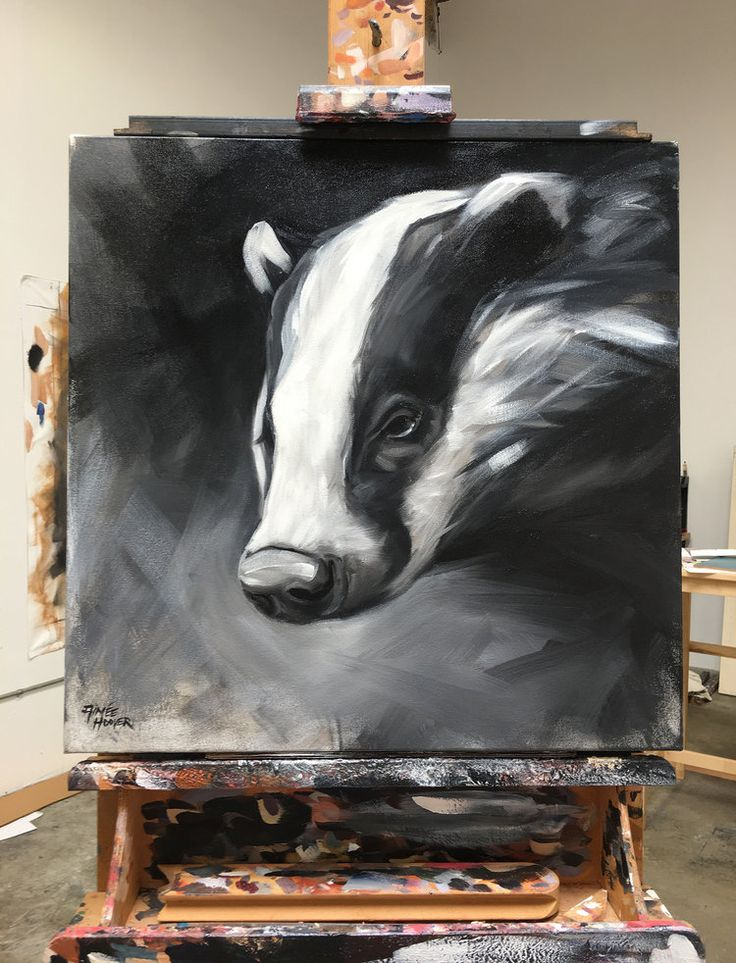 "Original art by California artist, Aimée Rolin Hoover: ""Badger"" 