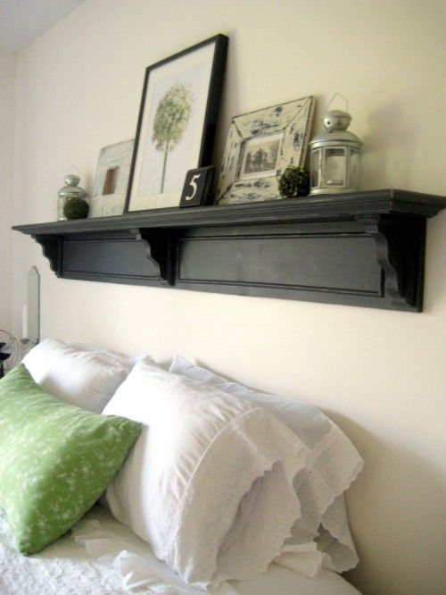 DIY Headboard Shelf. Items arranged in headboard symmetrically - good idea for size and shape but maybe vary the items to add interest ie 2 lanterns choose a similar sized object to replace one if them