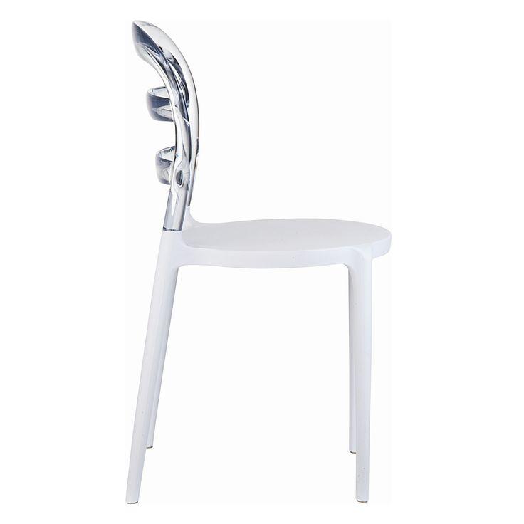 € 106,00 #sconto 50% #sedia MELA in tecnopolimero, #leggera, #impilabile, #design moderno, schienale trasparente, sedile e gambe di colore #bianco. In #offerta prezzo su #chairsoutlet factory #store #arredamento. Comprala adesso su www.chairsoutlet.com