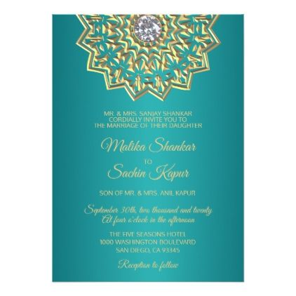 Teal Blue Green Mandala Gold Indian Wedding Card - template gifts custom diy customize