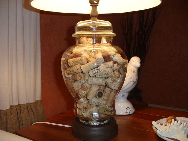 Vintage glass lamp filled with wine corks i love home for Wine cork lampshade