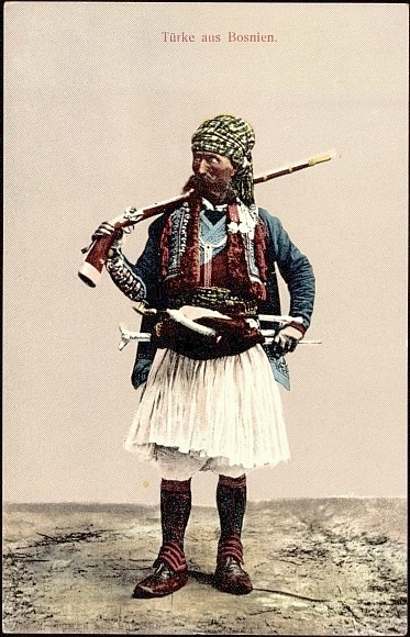 "'Başıbozuk' from Bosnia.  19th century. A 'başıbozuk' (damaged head), or 'delibaş' (crazy head) - both meaning ""free headed"", ""disorderly"" - may be a Circassian, Kurd, Arab, Albanian, or Turk.  They were armed and maintained by the government, but didn't receive pay, nor wear uniforms or distinctive badges. They were motivated to fight mostly by expectations of plunder.  As a result, they were particularly noted for their uncertain temper and lack of discipline."