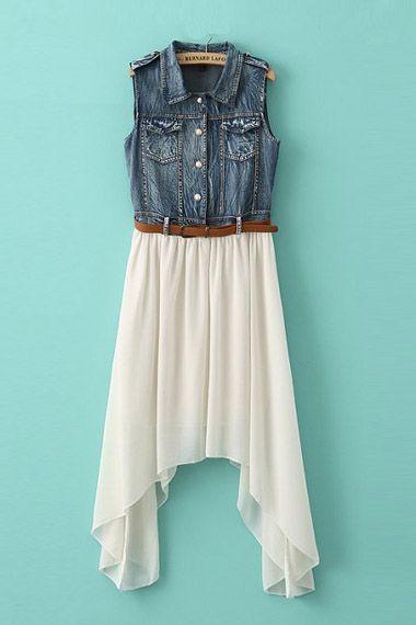 Asymmetrical Hem Denim Splicing Pleating Dress