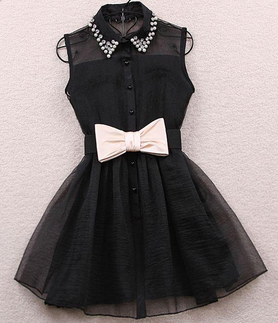 Ärmelloses+Revers-Kleid+mit+Gürtel+und+Strass,+schwarz+0.00