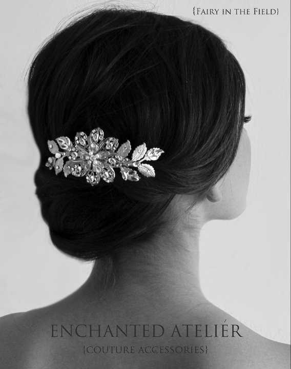 brides hair with beautiful accent piece