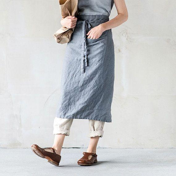 Long / garcon linen apron / Washed handmade linen chef / bistro apron in dark grey/graphite